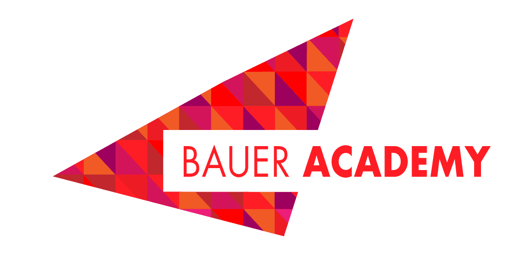 Bauer Academy logo featuring a red triangle and an upper-case, sans-serif font